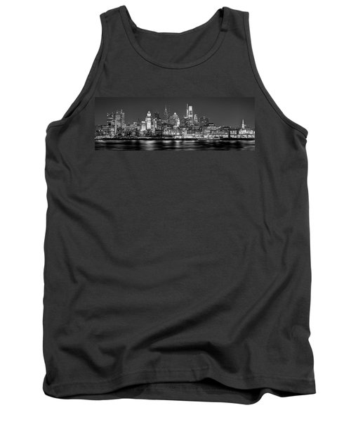 Philadelphia Philly Skyline At Night From East Black And White Bw Tank Top