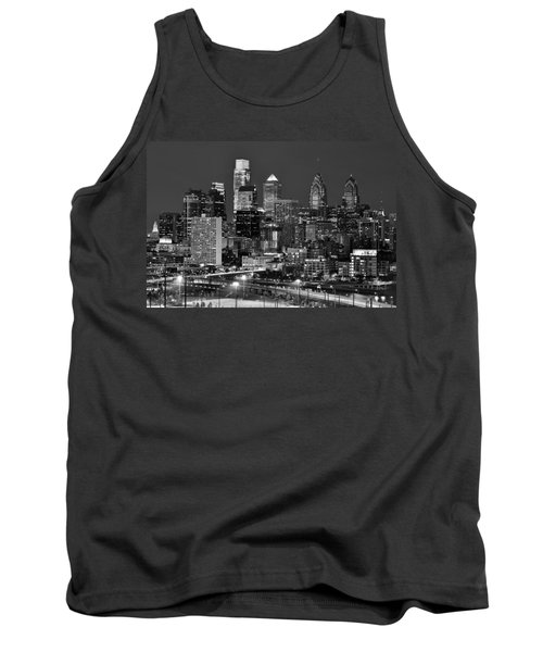 Philadelphia Skyline At Night Black And White Bw  Tank Top by Jon Holiday