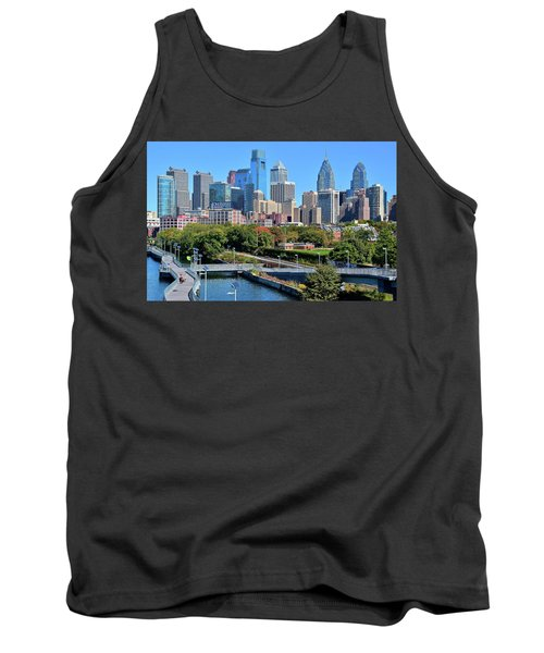 Tank Top featuring the photograph Philly With Walking Trail by Frozen in Time Fine Art Photography
