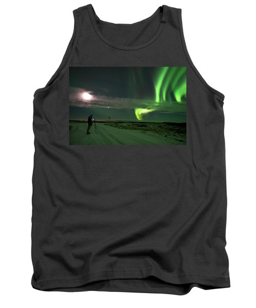 Tank Top featuring the photograph Photographer Under The Northern Light by Dubi Roman