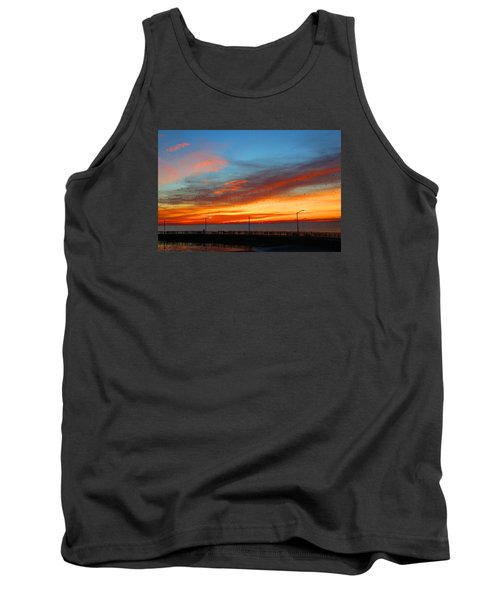 Tank Top featuring the photograph Pier Sunrise by Michael Rucker