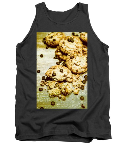 Pile Of Crumbled Chocolate Chip Cookies On Table Tank Top