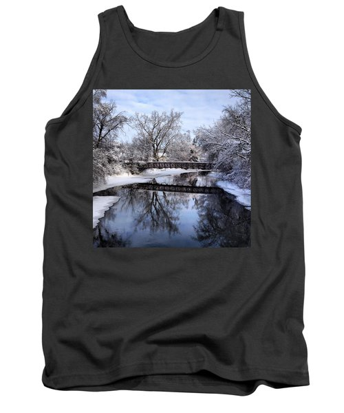 Pine River Foot Bridge From Superior In Winter Tank Top