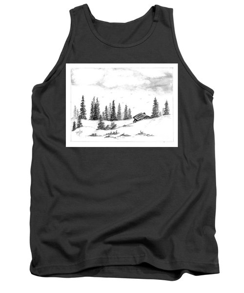 Tank Top featuring the drawing Pinetree Cabin by Terri Mills