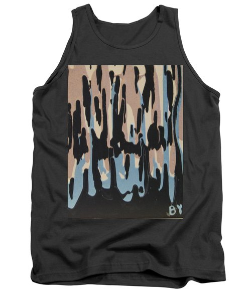 Pink Blue And Brown Drips Tank Top by Barbara Yearty