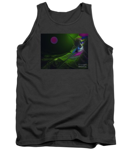 Tank Top featuring the digital art Pink Moon by Karin Kuhlmann