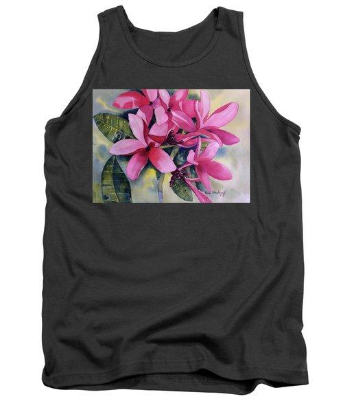 Pink Plumeria Flowers Tank Top