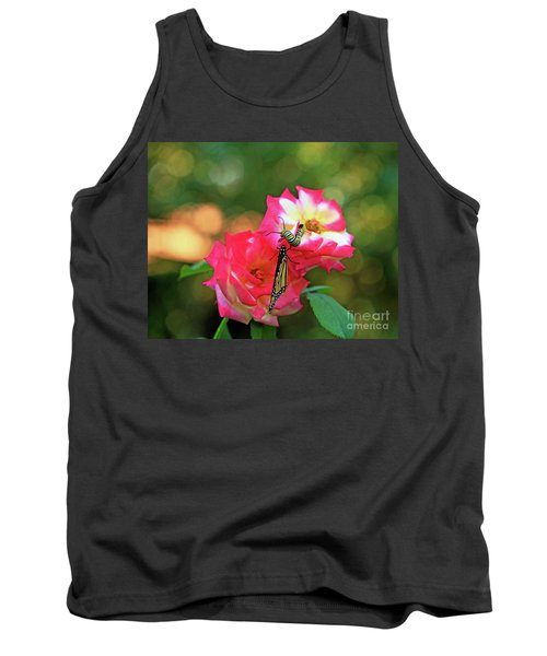Pink Roses And Butterfly Photo Tank Top by Luana K Perez