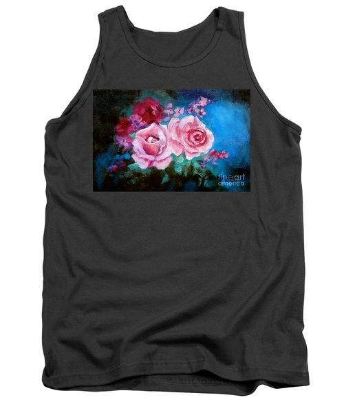 Pink Roses On Blue Tank Top by Jenny Lee