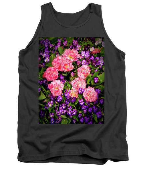 Pink Tulips With Purple Flowers Tank Top