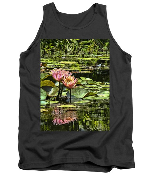 Pink Water Lily Reflections Tank Top by Bill Barber