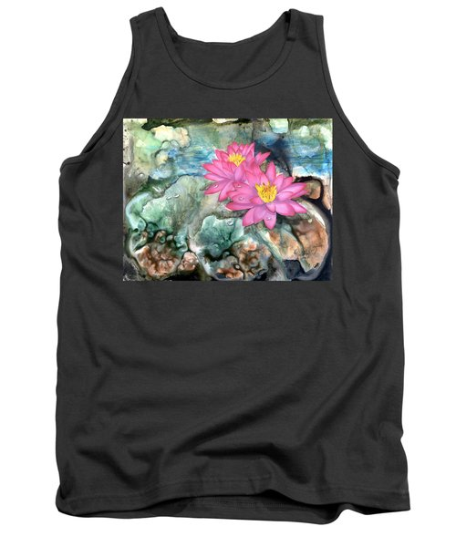 Tank Top featuring the painting Pink Waterlily by Sherry Shipley