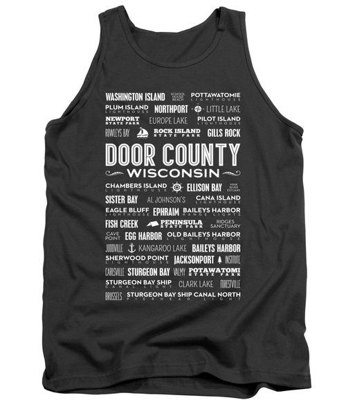 Places Of Door County On Gray Tank Top
