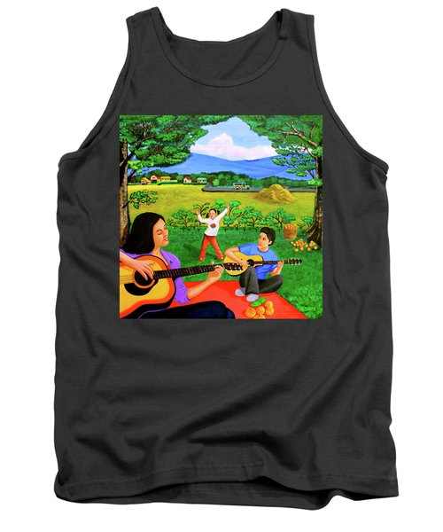 Playing Melodies Under The Shade Of Trees Tank Top by Lorna Maza