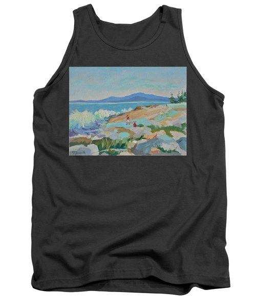 Tank Top featuring the painting Playing On Schoodic Rocks by Francine Frank