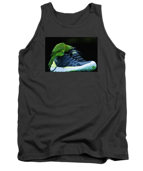Tank Top featuring the photograph Playing With Dads Shoe 01 by Kevin Chippindall