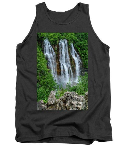 Plitvice Lakes Waterfall - A Balkan Wonder In Croatia Tank Top