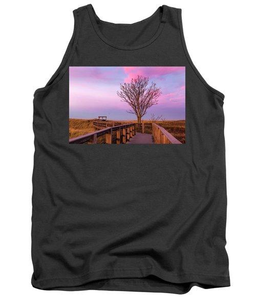 Plum Island Boardwalk With Tree Tank Top