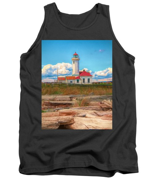 Point Wilson Lighthouse And Driftwood Tank Top