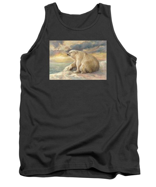 Tank Top featuring the painting Polar Bear Rests On The Ice - Arctic Alaska by Svitozar Nenyuk