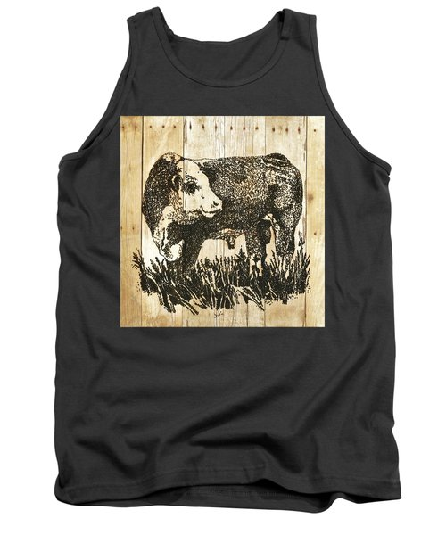 Polled Hereford Bull 11 Tank Top by Larry Campbell