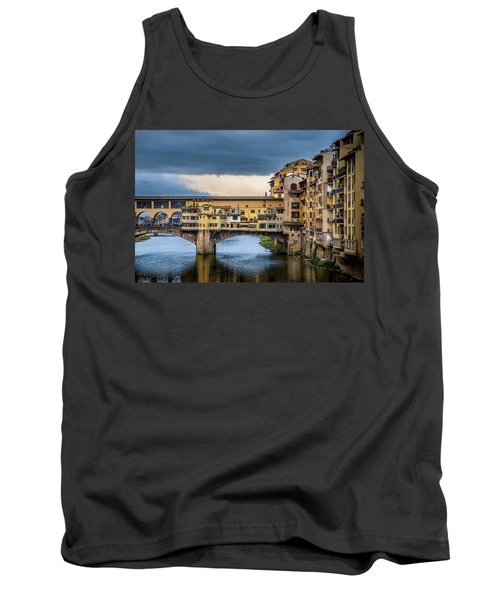 Tank Top featuring the photograph Ponte Vecchio E Gabbiani by Sonny Marcyan