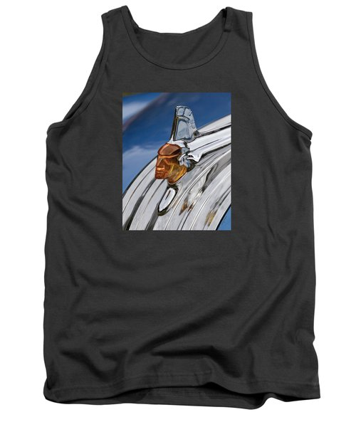 Tank Top featuring the photograph 1952 Pontiac Catalina Chieftan Lighted Hood Ornament by Betty Denise