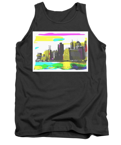 Tank Top featuring the digital art Pop City Skyline by Shelli Fitzpatrick