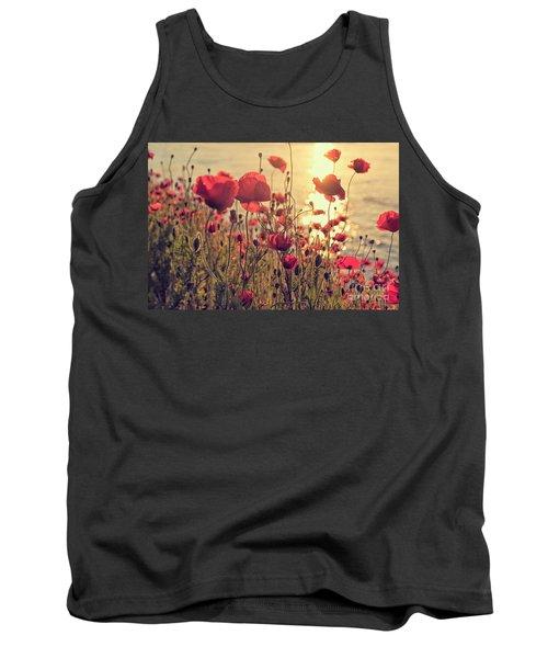Poppy Flowers At Sunset Tank Top