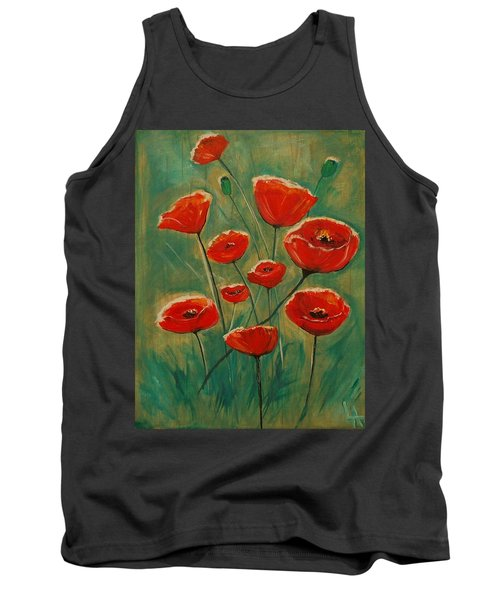 Tank Top featuring the painting Poppy Surprise by Leslie Allen