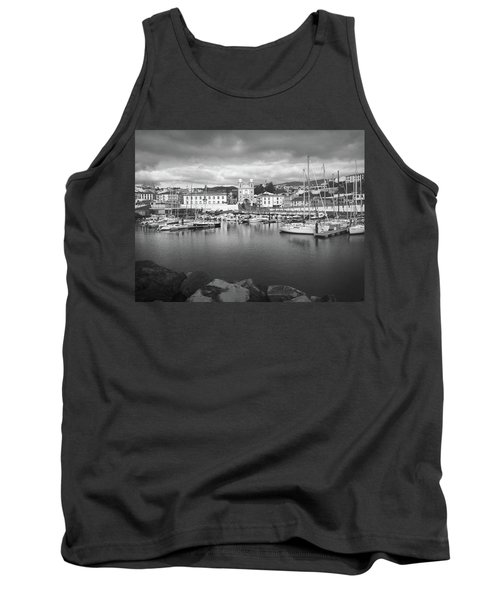 Port Of Angra Do Heroismo, Terceira Island, The Azores In Black And White Tank Top