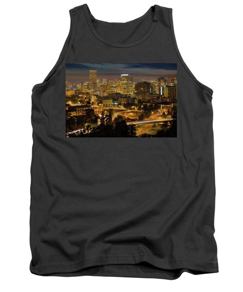 Portland Downtown Cityscape And Freeway At Night Tank Top