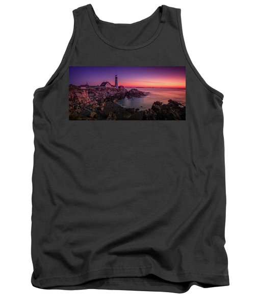 Tank Top featuring the photograph Portland Head Lighthouse Sunrise  by Emmanuel Panagiotakis