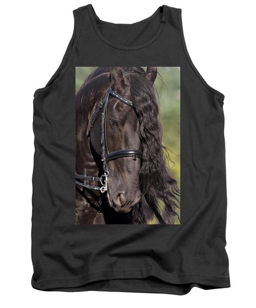 Tank Top featuring the photograph Portrait Of A Friesian D6438 by Wes and Dotty Weber