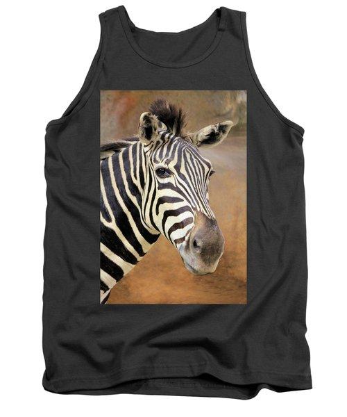 Portrait Of A Zebra Tank Top by Rosalie Scanlon