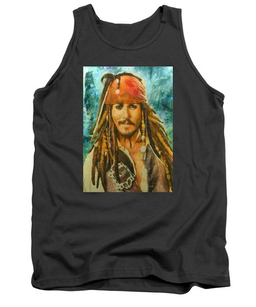 Portrait Of Johnny Depp Tank Top by Charmaine Zoe