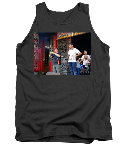 Tank Top featuring the photograph Praying At A Temple In Taiwan by Yali Shi