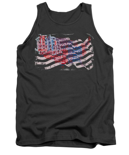 Preamble To The Constitution On Us Map Tank Top by Paulette B Wright