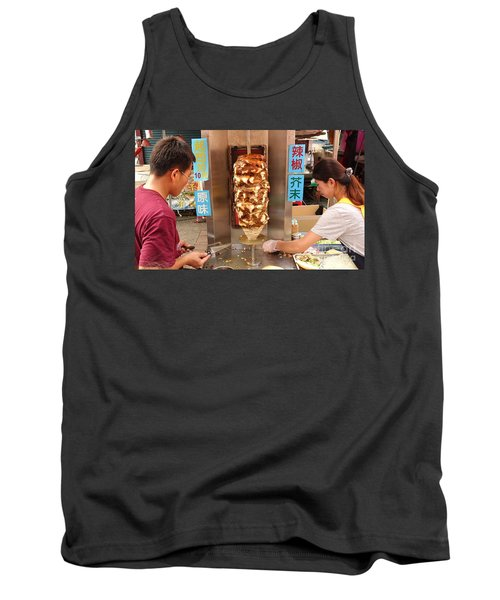 Tank Top featuring the photograph Preparing Shawarma Meat In Bread Buns by Yali Shi