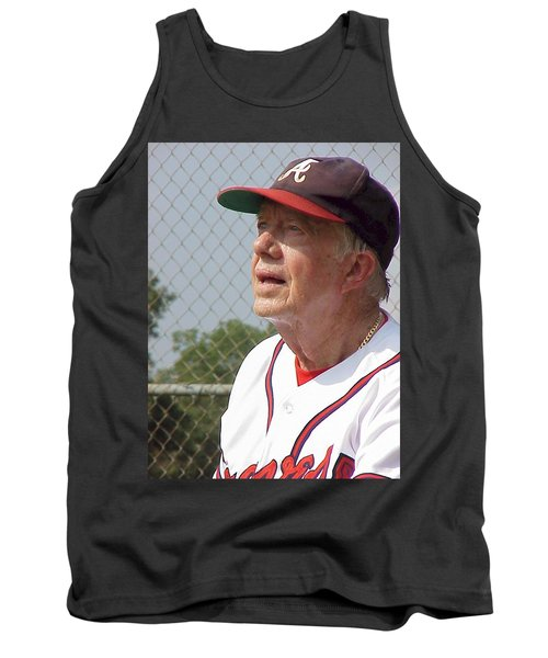 Tank Top featuring the photograph President Jimmy Carter - Atlanta Braves Jersey And Cap by Jerry Battle