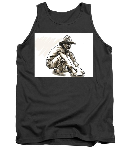 Tank Top featuring the drawing Prospector by Antonio Romero