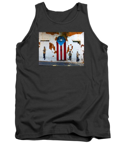 Tank Top featuring the photograph Puerto Rican Flag On Wooden Door by Steven Spak