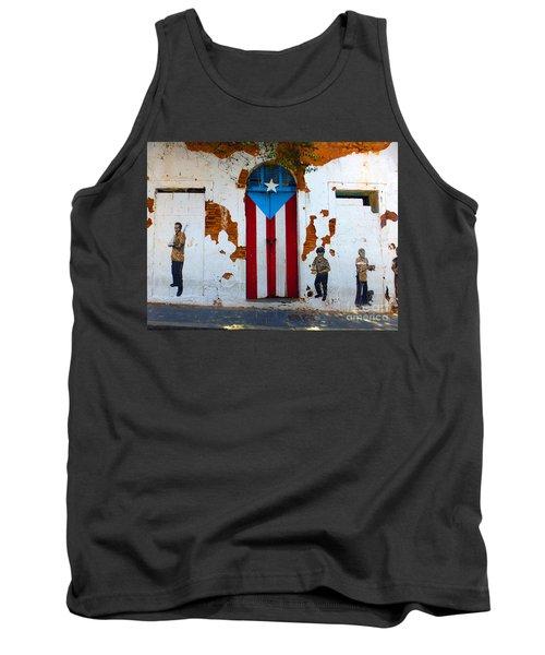 Puerto Rican Flag On Wooden Door Tank Top