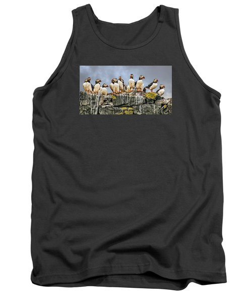 Tank Top featuring the photograph Puffin's Rock by Brian Tarr