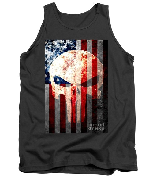 Punisher Skull And American Flag On Distressed Metal Sheet Tank Top by M L C