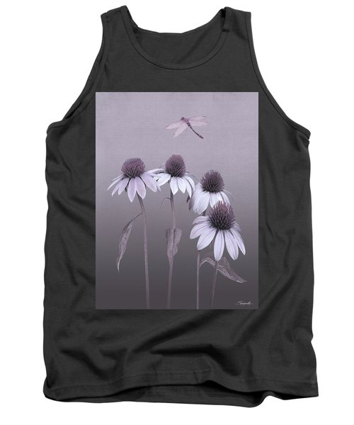 Purple Coneflowers And Dragonfly Tank Top