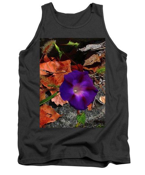 Purple Flower Autumn Leaves Tank Top