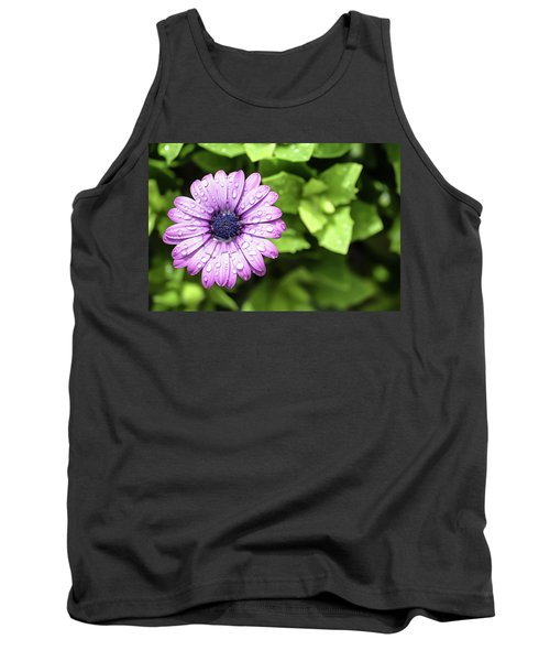 Purple Flower On Green Tank Top