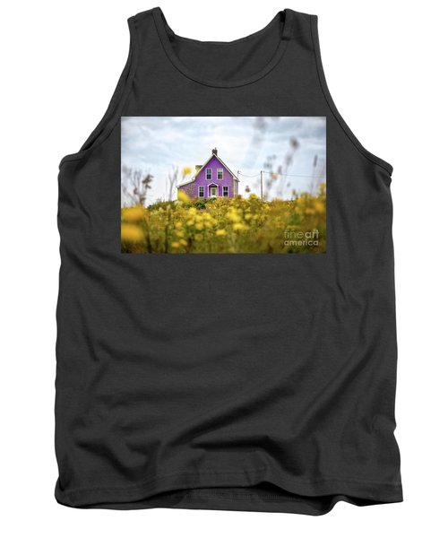 Purple House And Yellow Flowers Tank Top
