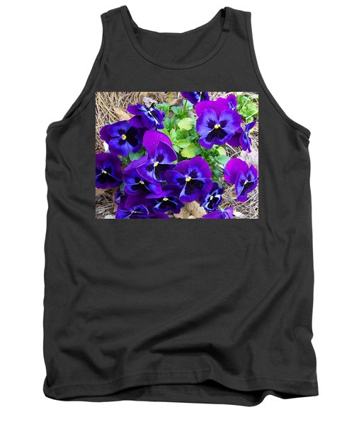 Tank Top featuring the photograph Purple Pansies by Sandi OReilly